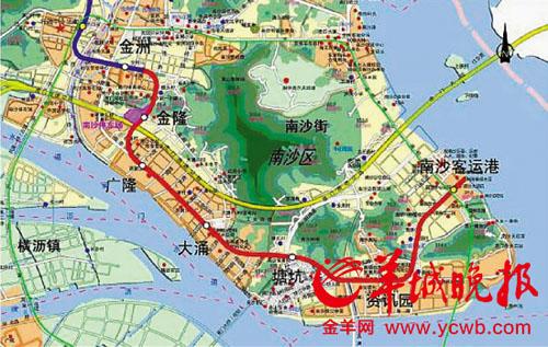 经奥林匹克体育中心,东圃,琶洲,官洲生物岛,广州大学城,石?
