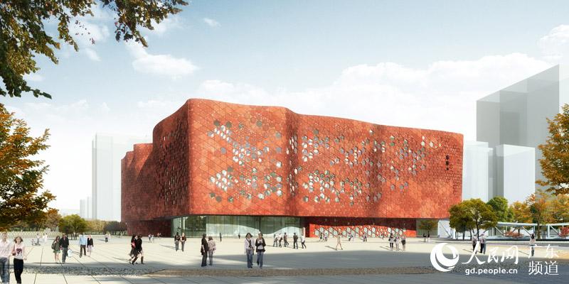 建筑外立面采用双表皮结构,外表皮以一种与红砂岩颜色相似的陶质材料