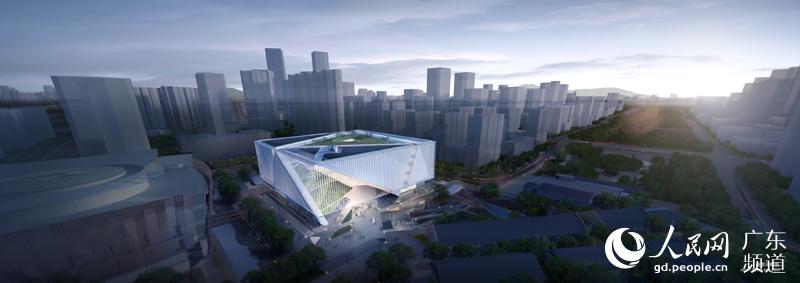 方案根据广州美术馆确定自身正方体的体量大小和边线关系.