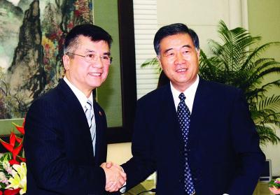 汪洋在广州珠岛宾馆会见骆家辉.王辉